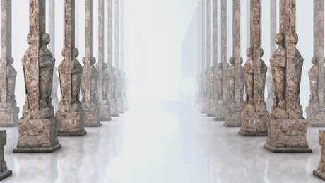 Corridor with pillars and human statues