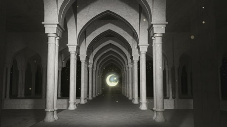 Corridors of a Ramadan Kareem temple
