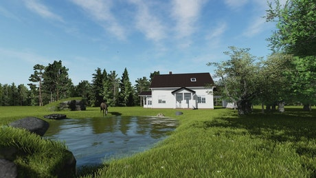 Country house in nature with a pond and a horse