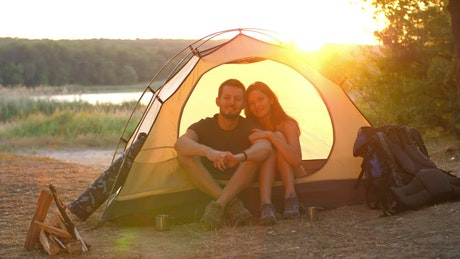 Couple at camp on their nature trip