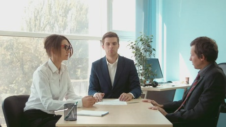 Couple at lawyer office