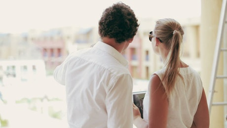 Couple discussing a construction project