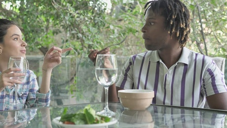 Couple eating healthy while chatting