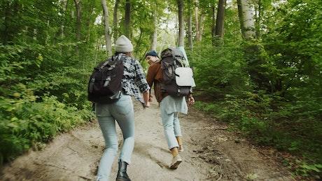 Couple enjoy the freedom of outdoors on hike