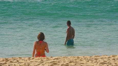 Couple enjoying the tropical beach