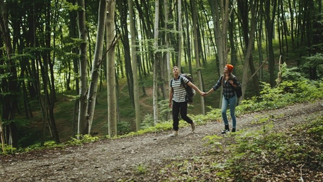Couple hold hands on romantic hike in forest