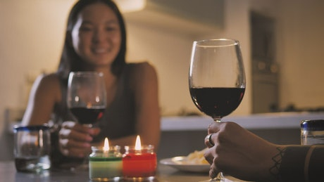 Couple of women making a toast during a dinner