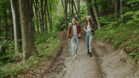 Couple walks through the woods