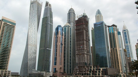 Covered view of large skyscrapers in a city