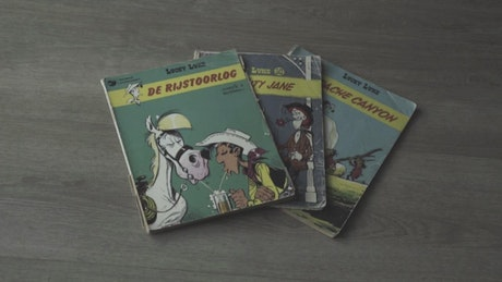 Covers of three vintage Lucky Luke comics