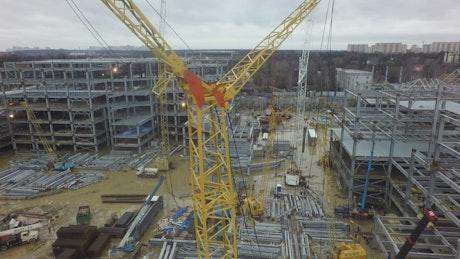 Crane lifting building frames