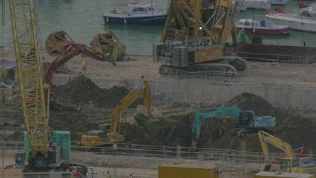 Cranes clearing a drydock