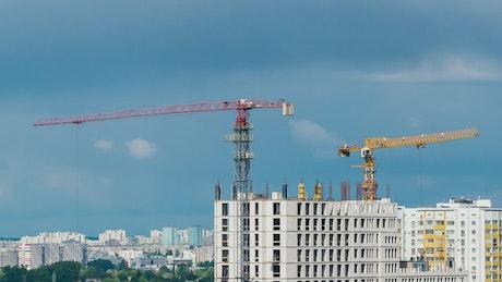 Cranes on a building under construction