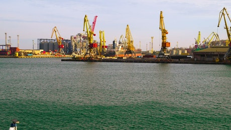 Cranes on trading port time lapse