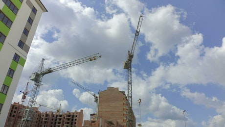 Cranes working on new apartments