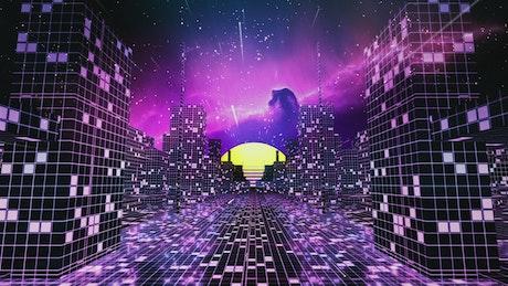 Crazy cyberpunk city in the space
