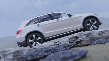 Cross-road luxury vehicle in nature, 3D animation