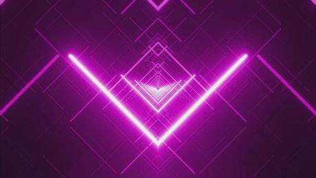 Crossing a rhombus passage of violet lights