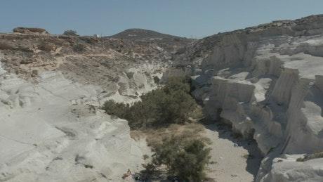 Crossing Sarakiniko Lunar Volcanic Canyon