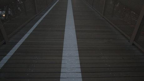 Crossing the empty Brooklyn bridge