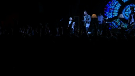 Crowd jumping at a music concert