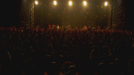 Crowd with hands in the air at the concert