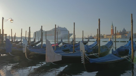 Cruise passengers entering port in Italy