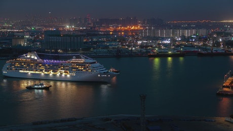 Cruise ship arriving to the port in Korea
