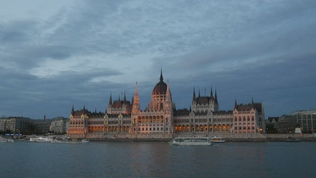 Cruise ships and ferries with the Hungarian Parliament building in the background