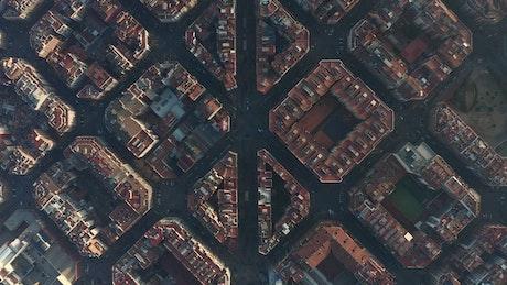 Cuadras de Barcelona, top aerial afar shot