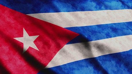 Cuba flag waving, render