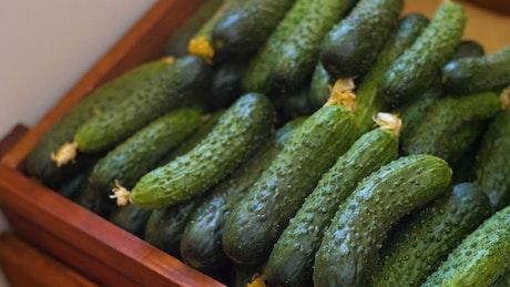 Cucumbers in a farmers market
