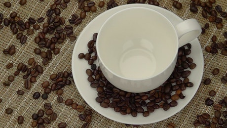 Cup being filled with coffee beans