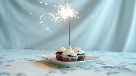 Cupcakes with a birthday sparkler