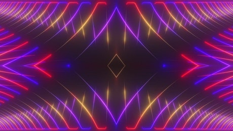 Curved lines of neon light moving in a prism