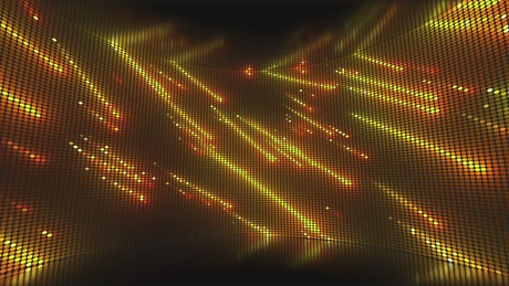 Curved screen showing a shower of yellow lights