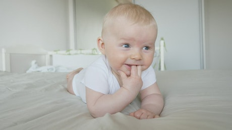 Cute baby smiling at home