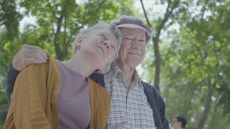 Cute old couple in a park