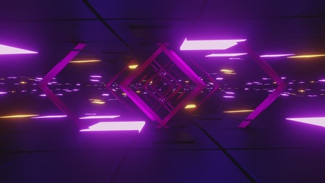 Cyberpunk stage with neon lights and frames, loop