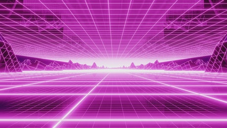 Cyberpunk style stage with neon grid floor