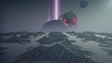 Cyberpunk world in the space