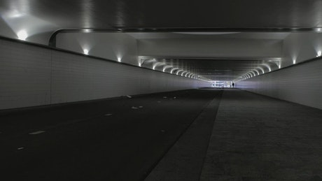 Cyclist in a tunnel