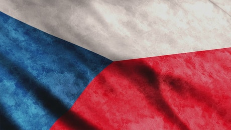 Czechia flag waving in 3D animation