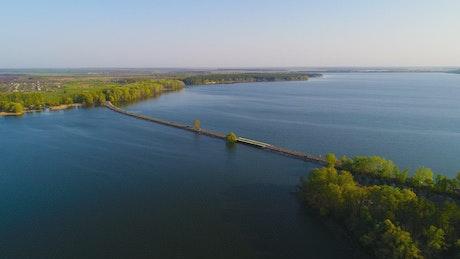 Dam river, drone shot