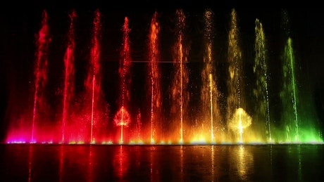 Dancing fountains with lights