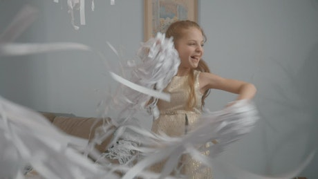 Dancing with paper confetti