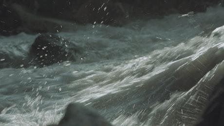 Dangerous river in a vallery