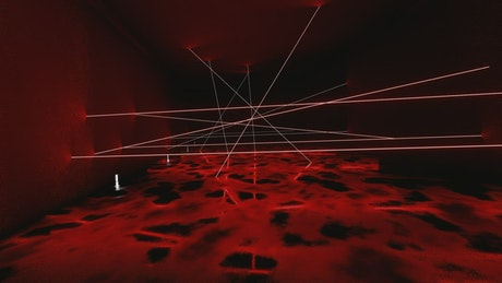 Dark 3D tunnel with red lasers
