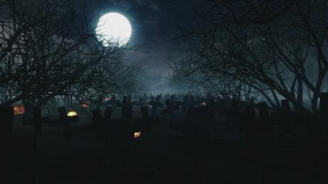 Dark and creepy graveyard full of crosses
