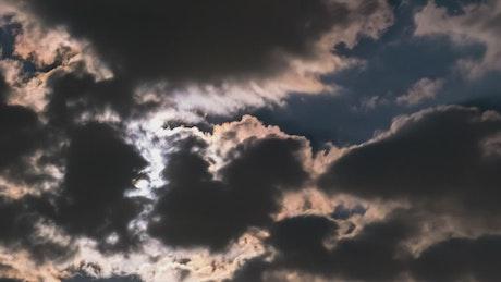 Dark clouds moving fast